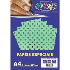 Papel A4 120g 10f Metalizado Poa Verde - Offpaper