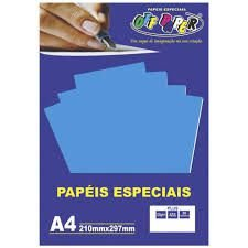 Papel A4 120g 20fls Plus Azul - Off Paper