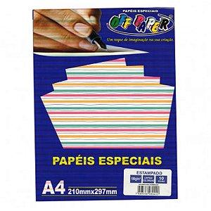 Papel A4 180g 10f Estampado Listras - Offpaper