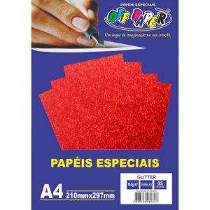 Papel A4 180g 5fls Glitter Vermelho - Off Paper