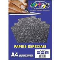 Papel A4 180g 5fls Glitter Preto - Off Paper