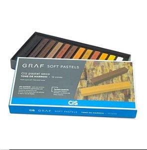 Estojo C/12 Giz Graf Pastels Seco Tons Marrom -cis