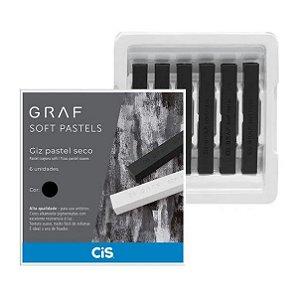 Estojo C/6 Giz Graf Pastels Seco Preto - Cis