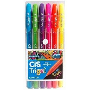 Estojo C/6 Caneta 1,0mm Trigel Neon - Cis