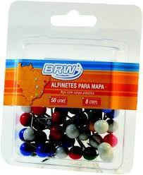 Alfinete P/mapa 8mm C/25 Bola Colorido - Brw