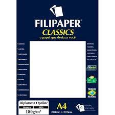 Papel A4 180g 20f Diplomata Branco - Filipaper