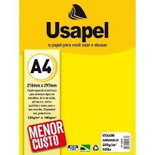 Papel Couche A4 180g 50f Usapel Amarelo -filipaper