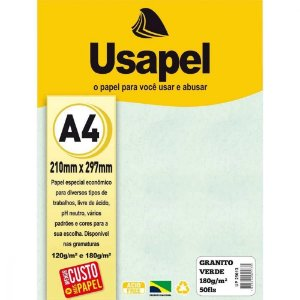 Papel Granitto A4 180g/m2 50f Verde - Usapel