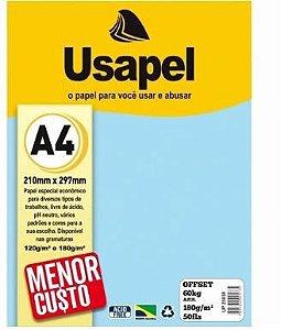 Papel Offset A4 180g 50f 60k Azul - Usapel