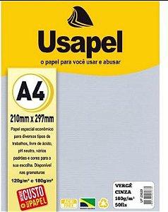 Papel Verge A4 180g/m2 50f Cinza - Usapel