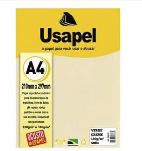 Papel Verge A4 180g/m2 50f Creme - Usapel