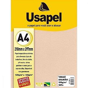 Papel Verge A4 180g/m2 50f Salmao - Usapel