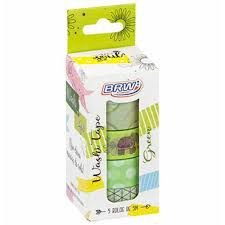 Fita Adesiva C/5 15mmx5m Washi Tape Green - Brw