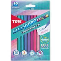 Hidrocor 12 Cores Mega Hidro Color Pastel - Tris