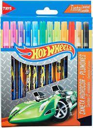 Caneta Hidrocor 12 Cores Hot Wheels - Tris