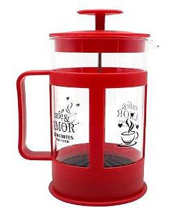 Cafeteira Vidro Francesa  600ml Cafe E Amor- Zona