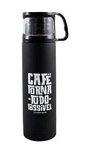 Garrafa 500ml Tp C/xicara Cafe - Zona