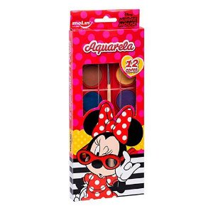 Aquarela 12 Cores + Pincel Minnie - Molin