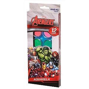 Aquarela 12 Cores + Pincel Avengers - Molin