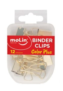 Binder Clips 19mm C/12 Color Plus Ouro - Molin