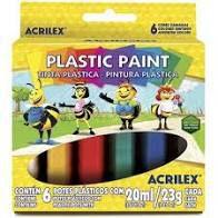 Plastic Paint 20ml C/6 Sortidas - Acrilex