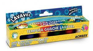 Tempera Guache C/6 Lavavel - Acrilex