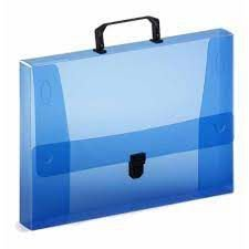 Maleta Pp Oficio Dorso 40mm C/fecho Azul- Plascony