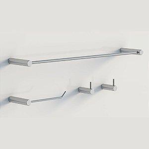 Kit Acessórios Cromo para banheiro metal polido Grego