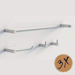 Kits de banheiro Cromo 12pçs metal polido Grego