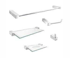 Kit acessório de banheiro aço inox e metal 5 peças 301DC Grego Metal
