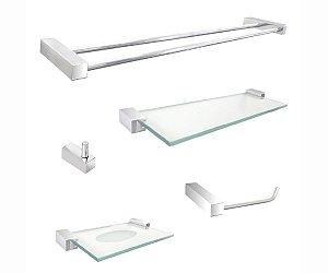 Kit para banheiro com toalheiro duplo aço inox e metal 302DC Grego Metal