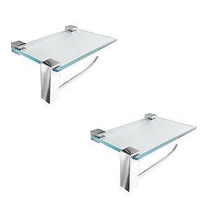 Porta Toalha Vidro Suporte Acessórios Kit 2 Peças Vitralle 411VT2 Grego Metal