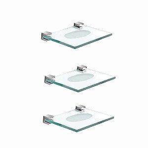 Saboneteira de Vidro Kit 3 Peças Prátika 818PK3 Grego Metal