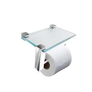 Porta Papel Higiênico Vidro com Apoio Acessórios Vitralle 412VTA Grego Metal