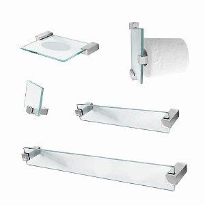 Kit Acessório de Banheiro em Vidro Classic 600CLA 5 Peças Grego Metal