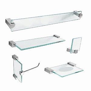 Kit de Banheiro em vidro com Prateleira Classic 601CL Grego