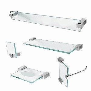 Kit para Banheiro de Vidro Prateleira 5 Peças Classic 601CLA