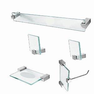 Kit para Banheiro Vidro 5 Peças Classic 602CLA Grego Metal