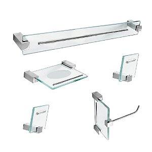 Kit para Banheiro em Vidro Detalhe 5 Peças Exclusive 702EX