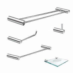 Kit Acessórios para Banheiro Porta Toalha Duplo Luxo Plus 502LPA
