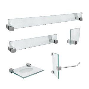 Kit Acessórios Para Banheiro Vidro 5 Peças 419VTA Vitralle