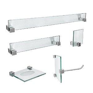 Kit Acessórios Banheiro de Vidro 5 Peças Vitralle 419VTA Grego Metal