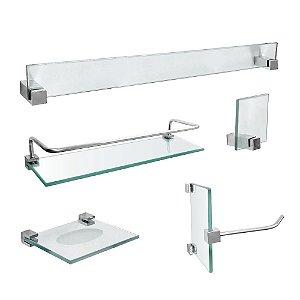 Kit Acessórios para Banheiro em Vidro com Porta Shampoo 421VTA Vitralle
