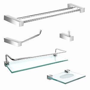 Kit Acessórios para Banheiro com Prateleira Proteção Prátika 802PK