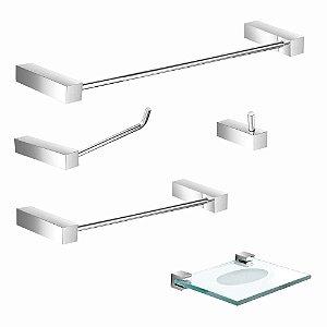 Kit para Banheiro Acessórios Metal 5 Peças Prátika 812PK