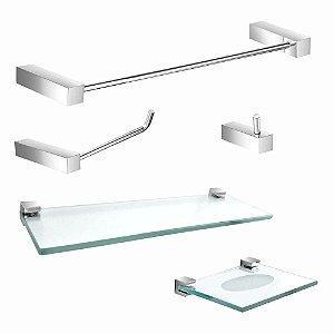 Kit Acessórios para Banheiro com Prateleira 5 Peças Prátika 813PK Grego