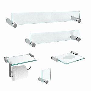 Acessórios para Banheiro em Vidro 5 Peças Retrô 200RT Grego Metal