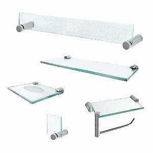 Kit Acessórios para Banheiro Acessórios em Vidro com Prateleira Retrô 222RT
