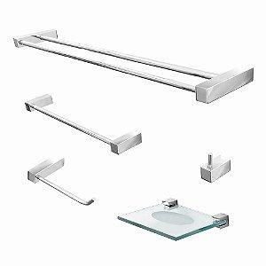 Acessórios para Banheiro Suporte Duplo Metal 5 Peças Prátika 800PKA