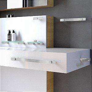 Kit Acessórios para Banheiro e Prateleira Aço Inox 107DX 6 Peças Decaluxo
